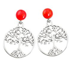 925 sterling silver red coral tree of life earrings jewelry c11802