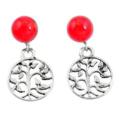 925 sterling silver 4.34cts red coral tree of life earrings jewelry c26004