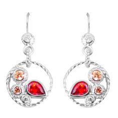 925 sterling silver 3.91cts red garnet quartz pear topaz earrings jewelry c23043