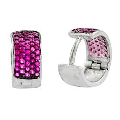 925 sterling silver 2.23cts red ruby (lab) stud earrings jewelry c9616