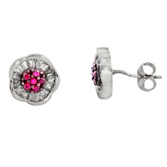 925 sterling silver 4.34cts red ruby (lab) topaz stud earrings jewelry c9279