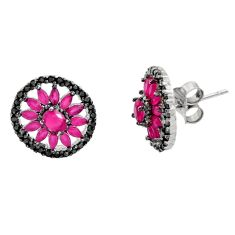 925 sterling silver 4.45cts red ruby (lab) topaz stud earrings jewelry c9339