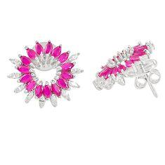 925 sterling silver red ruby quartz topaz stud earrings jewelry c20180
