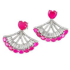 925 sterling silver red ruby quartz white topaz dangle earrings c19518