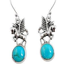 925 sterling silver 8.77cts sleeping beauty turquoise unicorn earrings d40508