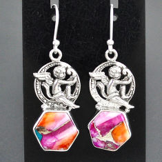 925 sterling silver 9.95cts spiny oyster arizona turquoise angel earrings r95164