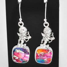 925 sterling silver 12.34cts spiny oyster arizona turquoise angel earrings t4068