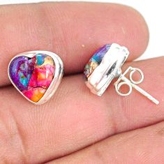 925 sterling silver 8.38cts spiny oyster arizona turquoise stud earrings r76618