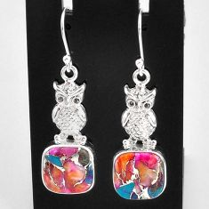 925 sterling silver 12.31cts spiny oyster arizona turquoise owl earrings t4072