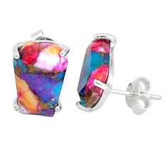 925 sterling silver 9.89cts spiny oyster arizona turquoise stud earrings r93213