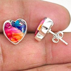 925 sterling silver 8.33cts spiny oyster arizona turquoise stud earrings r93636
