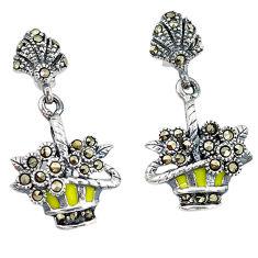 925 sterling silver swiss marcasite enamel dangle earrings jewelry c21458