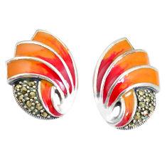 925 sterling silver 6.87gms swiss marcasite enamel earrings jewelry c21445