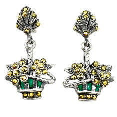 925 sterling silver swiss marcasite enamel flower basket earrings jewelry c22408