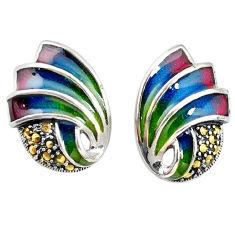 925 sterling silver swiss marcasite enamel stud earrings jewelry c22395