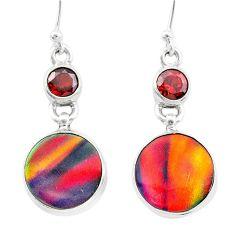 925 sterling silver 9.56cts volcano aurora opal (lab) garnet earrings t23564