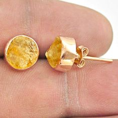 925 sterling silver 6.33cts yellow citrine raw rose gold stud earrings t52335