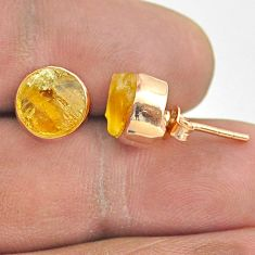 925 sterling silver 6.33cts yellow citrine raw rose gold stud earrings t52339