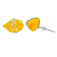 925 sterling silver 8.29cts yellow citrine raw stud earrings jewelry r79733