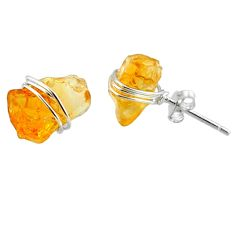 925 sterling silver 7.63cts yellow citrine raw stud earrings jewelry r79739