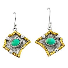 3.28cts victorian arizona mohave turquoise 925 silver two tone earrings d34586