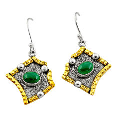 3.52cts victorian natural malachite 925 silver two tone dangle earrings d34587