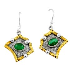 3.53cts victorian natural malachite 925 silver two tone dangle earrings d34589