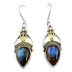 Clearance Sale- 10.31cts victorian natural blue labradorite 925 silver two tone earrings d34600