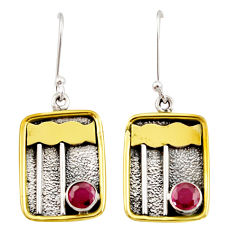 Clearance Sale- 1.88cts victorian natural red ruby 925 silver two tone dangle earrings d34601