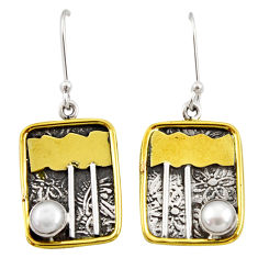 Clearance Sale- 1.81cts victorian natural white pearl 925 silver two tone dangle earrings d34607