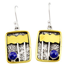 Clearance Sale- 1.77cts victorian natural blue lapis lazuli 925 silver two tone earrings d34608