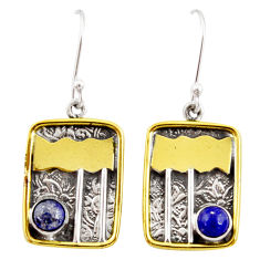 Clearance Sale- 925 silver 1.87cts victorian natural blue lapis lazuli two tone earrings d34609