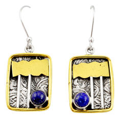 Clearance Sale- 1.81cts victorian natural blue lapis lazuli 925 silver two tone earrings d34610
