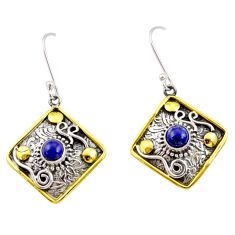 Clearance Sale- 1.88cts victorian natural blue lapis lazuli 925 silver two tone earrings d34622