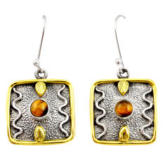 1.94cts victorian natural brown tiger's eye 925 silver two tone earrings d34635