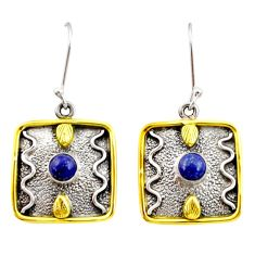 925 silver 1.94cts victorian natural blue lapis lazuli two tone earrings d34639