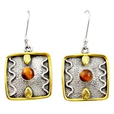 1.94cts victorian natural brown tiger's eye 925 silver two tone earrings d34640