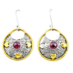 1.76cts victorian natural red garnet 925 silver two tone dangle earrings d34641
