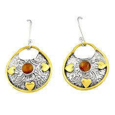 1.71cts victorian natural brown tiger's eye 925 silver two tone earrings d34643