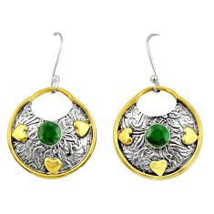 925 silver 1.57cts victorian natural green emerald two tone earrings d34644