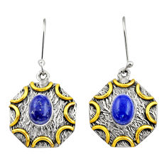 3.91cts victorian natural blue lapis lazuli 925 silver two tone earrings d34647
