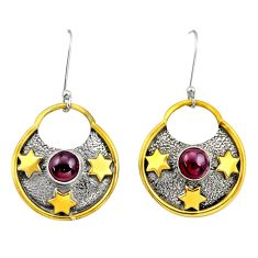 2.19cts victorian natural red garnet 925 silver two tone dangle earrings d34656