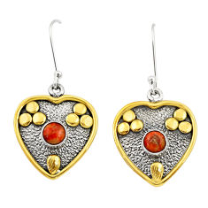 Clearance Sale- 1.47cts victorian red copper turquoise 925 silver two tone heart earrings d34665