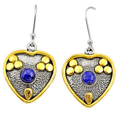 1.84cts victorian natural lapis lazuli 925 silver two tone heart earrings d34667
