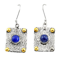 Clearance Sale- 2.46cts victorian natural lapis lazuli 925 silver two tone heart earrings d34672