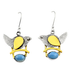 Clearance Sale- 925 silver 3.29cts victorian natural owyhee opal two tone heart earrings d34676