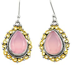 Clearance Sale- 925 silver 10.39cts victorian natural pink rose quartz two tone earrings d34684