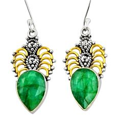 10.81cts victorian natural green emerald 925 silver two tone earrings d34686