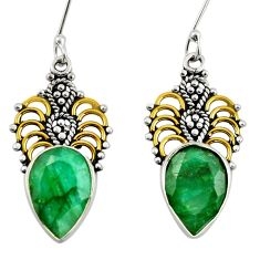 9.99cts victorian natural green emerald 925 silver two tone earrings d34687
