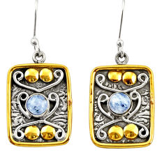 Clearance Sale- 1.88cts victorian natural rainbow moonstone 925 silver two tone earrings d34693